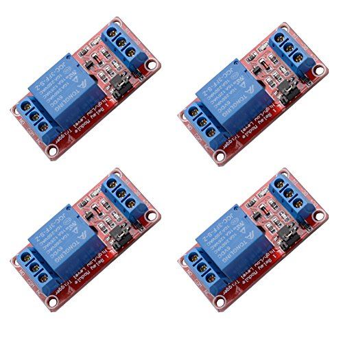 4 pcs DC 5V 1 Channel Relay Module Board Shield High/Low Level Trigger with Optocoupler
