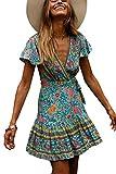 MisShow Damen Partykleid Sexy Blumen Minikleider V-Ausschnitt Abendkleid Strandkleid Grün Gr. S