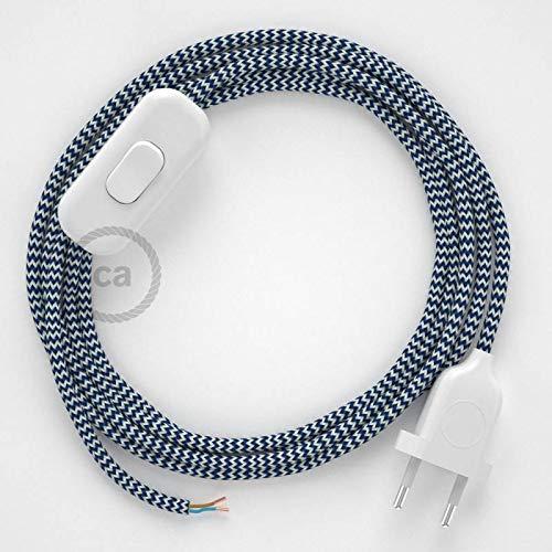 creative cables Cordon pour Lampe, câble RZ12 Effet Soie Zigzag Blanc-Bleu 1,80 m. Choisissez la Couleur de la fiche et de l'interrupteur! - Blan