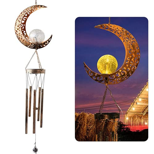 Santwo - Luci da giardino a energia solare, per esterni, con campanellino a vento, lanterne solari e decorazioni impermeabili, per patio, cortile, vialetto (luci solari lunari)