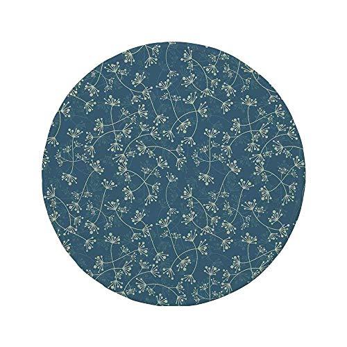 Rutschfreies Gummi-rundes Mauspad Blumenmuster Eleganz in der Natur Hervorgehobene Zweige Pflanzen Blütenblätter Frühlingsmode-Design Hellgrün Schieferblau 7.9x7.9x3MM