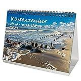Küstenzauber Nord- und Ostsee DIN A5 Tischkalender für 2021 Küste - Geschenkset Inhalt: 1x Kalender, 1x Weihnachts- und 1x Grußkarte (insgesamt 3 Teile)