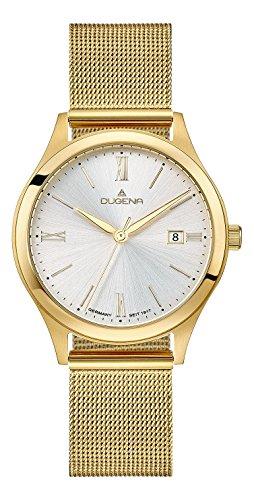 Dugena Herren Armbanduhr Senator Edelstahl 37mm gold