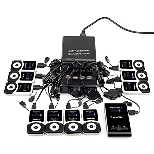 Case of 1 Transmitter 10 Receivers 1 Charger Base,Retekess T130,Church Translation System,Tour Guide Wireless System,Multichannel Simultaneous Translation Equipment for Plant Tour Training School