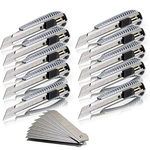 10 Alu Druckguss Cuttermesser Teppichmesser Kartonmesser Aluminium inklusive 10 Stahl Ersatzklingen 18mm