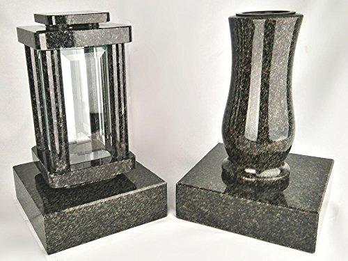 designgrab moderne Lampe Funéraire avec vase et 2 pièces Socle en granite Impala Nero/Astor/Afrique Noir Anthracite, pierre tombale Set de