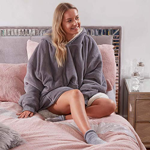 Sienna Hoodie Wearable Blanket with Ultra Soft Sherpa Fleece Lining Warm Cozy Oversized Sweater Throw for Adults Men Women Large  Charcoal Grey