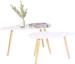 2 x bianco in legno tavolino da salotto, tavolino da caffè set tavolo rotondo da caffè, tavolino bianco con, B85*T50*H45 cm/ B70*T35*H40 cm