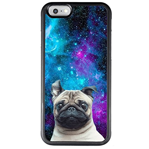 ChyFS Case for iPhone 6s 6 Galaxy Nebula Pug Phone Case,TPU Protective Black Case