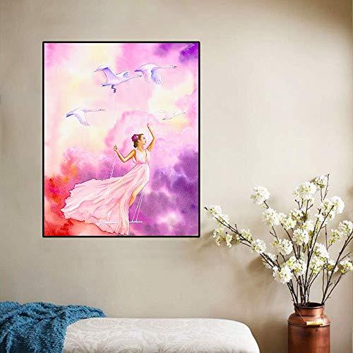 ganlanshu Schwan Kunst Ölgemälde Mädchen Spielen Schwan Kunst Poster Wanddekoration für zu Hause Wohnzimmer Büro,Rahmenlose Malerei,40x50cm