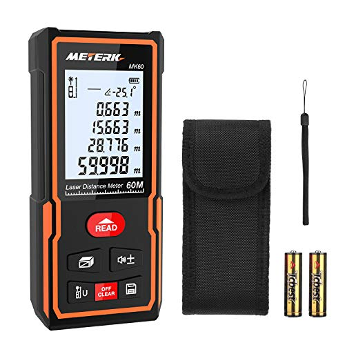 Laser Measure, Meterk 196 Ft M/In/Ft Mute Laser Distance Meter with Electronic Bubble Level, LCD Backlight Display and Measure Distance, Area and Volume, Pythagorean Mode - Battery Included
