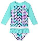 UNIFACO Toddler Girls Rashguard Set Long Sleeve 3D Fish Scale Casual Beach Swimsuit Tankini with UPF 50+ Sun Protection
