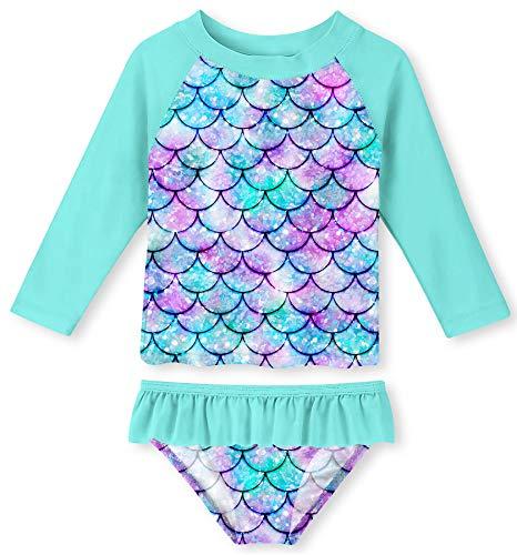 UNIFACO Toddler Girls Tankini 3D Fish Scale Stylish Bathing Suit Swimsuit Long Sleeve Shirt and Bikini Bottom