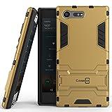 Sony Xperia X Compact Case, CoverON [Shadow Armor Series] Hard Slim Hybrid Kickstand Phone Cover Case for Sony Xperia X Compact - Gold/Black