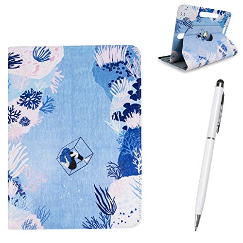 BEISK Pack Lápiz Táctil + Funda Tablet de 10-10.1 Pulgadas, Sistema Giratorio 360º, Rotación, Protección, Soporte, para Huawei Mediapad/Samsung Galaxy Tab/iPad/Lenovo TAB4 10, Etc. Corales