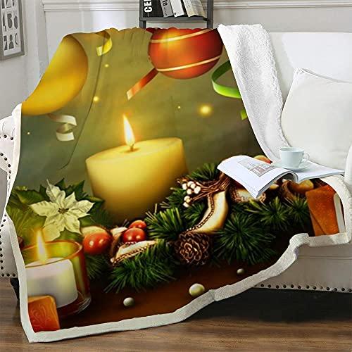 Mantas para Sofas Vela Decorativa Navideña Mantas de Lana Invierno Grandes Colchas para Sofas Manta Sherpa Cama Infantil Calentitas Reversible para Regalos de Cumpleaños 150 x 200 cm