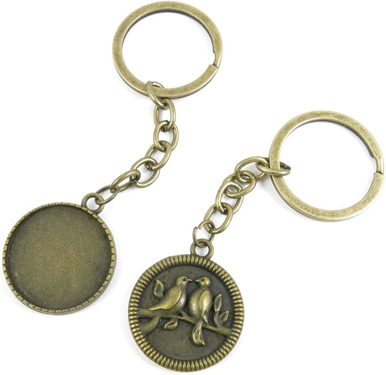130 Pieces Fashion Jewelry Keyring Keychain Door Car Key Tag Ring Chain Supplier Supply Wholesale Bulk Lots I9WH1 Birds Cabochon Frame Blanks