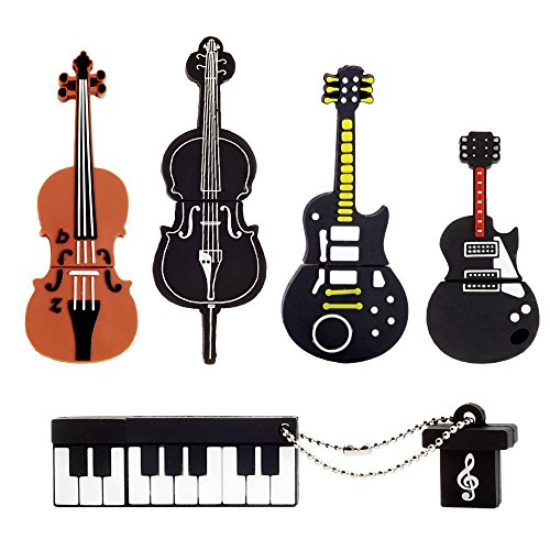 【5 Piezas】 LEIZHAN Memoria USB 2.0 8GB Pendrive Silicona Impermeable Flash Drive Memorias Regalo para Niños-Instrumentos Musicales
