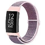 Runostrich Correas de reloj de nailon compatibles con Fitbit Charge 4/Charge 3/SE, correa de repuesto suave transpirable con correa para mujeres y hombres (arena rosa)