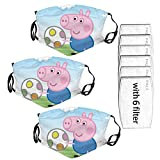 Pe-ppa Pi-g pink pig Children's cute cartoon dust mask with filter, reusable needle mouth cover,gifts for boys and girls (Peppa Pig 3PC 6filter)