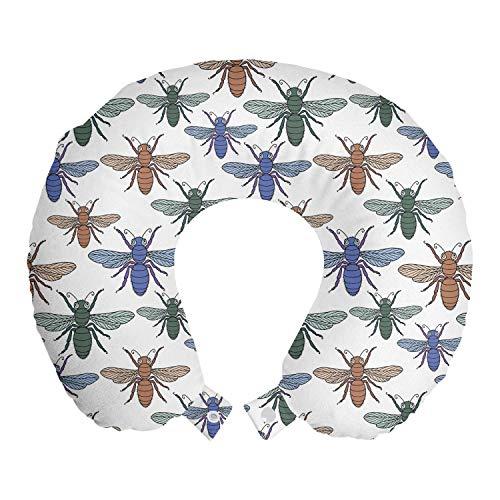 ABAKUHAUS insecten Reiskussen, Abstracte Kleurrijke Vliegen, Reisaccessoire met Geheugenschuim voor Vliegtuig en Auto, 30 cm x 30 cm, White Multicolor