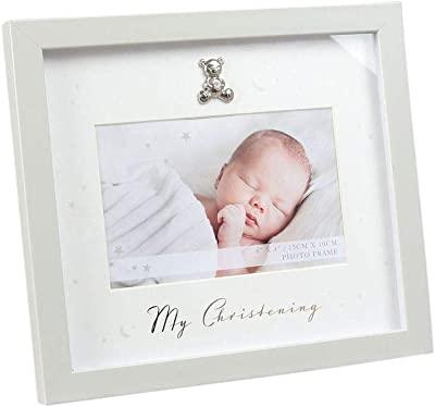4x6 White Malden International Designs White Shadowbox with Printed Mat My Christening and Silver Cross Attachment Picture Frame