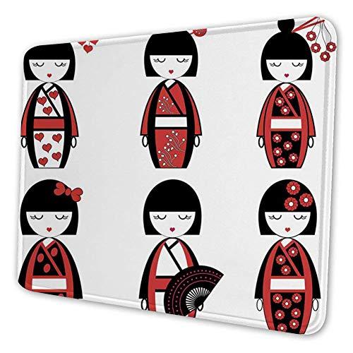 Rechthoekige Mousemat Mousepad, Unieke Aziatische Geisha Poppen in Folklorische Kostuums Outfits Haarstokken Kimono Art Image