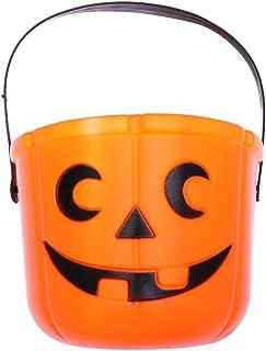 UPKOCH 2pcs Halloween Orange Pumpkin Basket Jack O Lantern Trick Or Treat Bucket Plastic Basket Favores de fiesta de Halloween