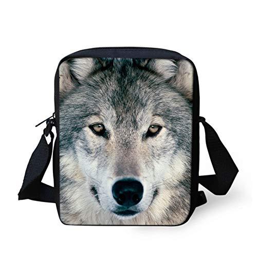 HUGS IDEA Wolf Face Printed Mini Cross Body Shoulder Bags Small Handbag Cell Phone Purse Wallet