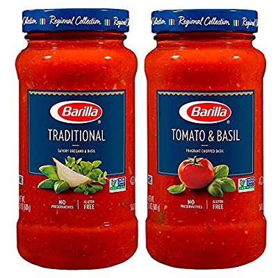 Tomato & Basil and Traditional Premium Pasta Sauce Variety Pack, 24 Ounce Jars (Pack of 4)