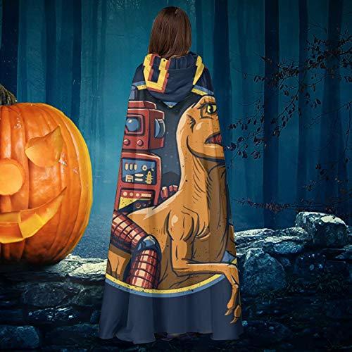 NULLYTG - Disfraz de Dino BOT Velociraptor Unisex para Halloween, Bruja, Caballero con Capucha, Capa de Vampiros, Capa de Disfraces de Cosplay