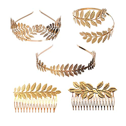 STOBOK Aro de pelo de metal dorado con forma de hojas, 5 unidades, tipo aleatorio, corona de hojas doradas, diadema, diadema, tocado de boda, para novias, nias, seoras, 15 x 13 cm x 3 cm
