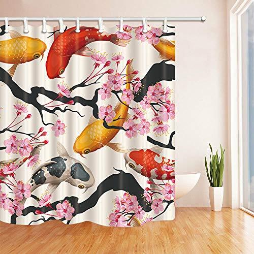zhanghui2018 Duschvorhang, Goldfisch, Pfirsichblüte, Wasser, strapazierfähiger Stoff, Schimmel, Badezimmer-Zubehör, kreativ, mit 12 Haken, 180 x 180 cm