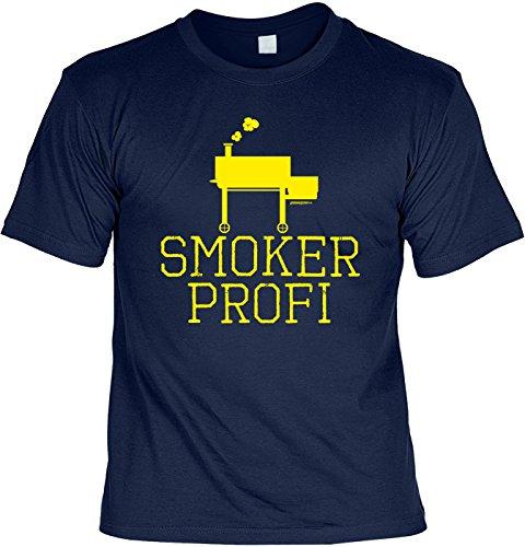Bequemes Herren Shirt mit Grill Motiv: Smoker Profi - Geschenk zur Grillparty, grillen, Grillsaison - Farbe: navyblau