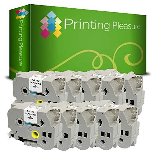 Printing Pleasure 10 x TZe-261 TZ-261 Negro sobre Blanco Cinta de Etiquetas Compatible con BrotherP-Touch | 36mm x 8m | laminada estandár