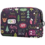 Bolsa de cosméticos portátil de viaje, bolsa de almacenamiento de cosméticos, partición ajustable, utilizada para brochas de maquillaje, cosméticos, diseño de calavera de Navidad