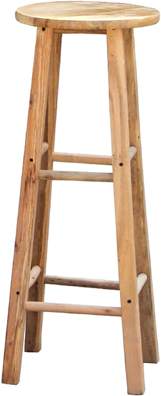 Dengzi Solid Wood Stool bar Stool Restaurant Stool high Stool Step Stool Stool (color   Wood color, Size   30x30x60cm)