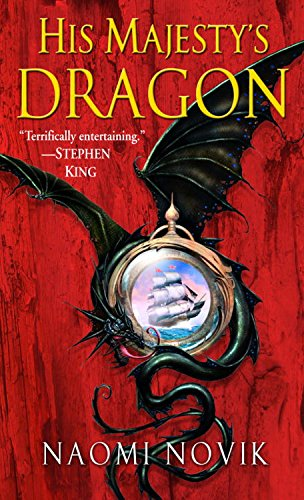 Book cover for His Majesty's Dragon by Naomi Novik. Red background with a black dragon surrounding a pendant with a sailing ship on it.