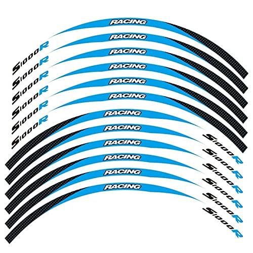 12 Tiras De Calcomanías Reflectantes para Motocicleta, Llantas para Llantas, Pegatinas para Moto, Estilo De Decoración para B-M-W S1000R S1000 R (Color : 8)