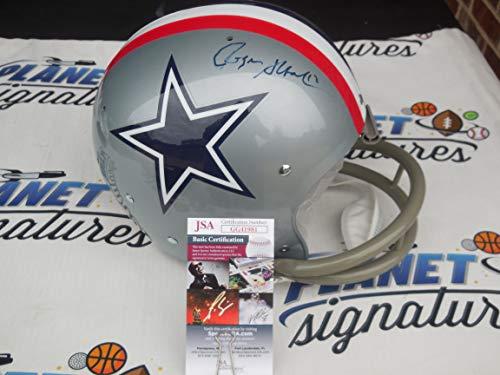 Roger Staubach signed Dallas Cowboys full size throwback 2 Bar TK helmet JSA COA