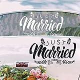 Adhesivo decorativo Just Married para coche de boda, Just Married Pegatinas de Vinilo para Coche Car Window Decal para Boda Coche decoración Luna de Miel Regalo