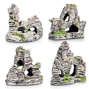 4 Piece Aquarium Ornaments Stone Rocks Fish Tank Decoration Set