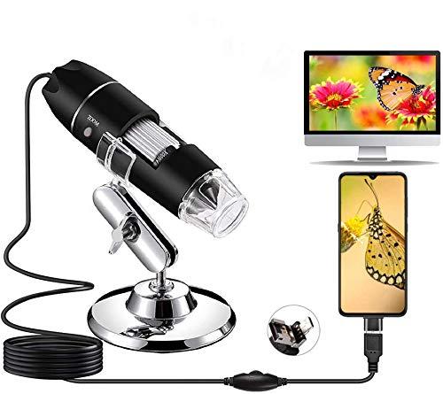 USB Digital Mikroskop, 1080P Kamera 50x-1600x Vergrößerung endoskop 8 LED-Leuchte Mini-Handmikroskop mit Ständer Ideal für Kinder, Studenten kompatibel Android OTG-Handy, Windows 7, 8, 10, Linux, Mac