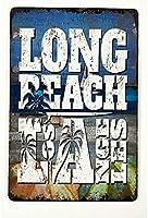 休暇中のサーフィンとビーチビンテージスタイルのメタルサイン屋内と屋外のホームバーの鉄の絵コーヒーキッチンの壁の装飾8X12インチ
