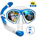 Powsure Kids Snorkel Set, Dry Top Snorkel with Swim Mask, Anti-Leak Snorkeling Package of Anti-Fog Tempered Glass Diving Goggles for Children, Boys, Girls,Youth,Junior Child (Blue)
