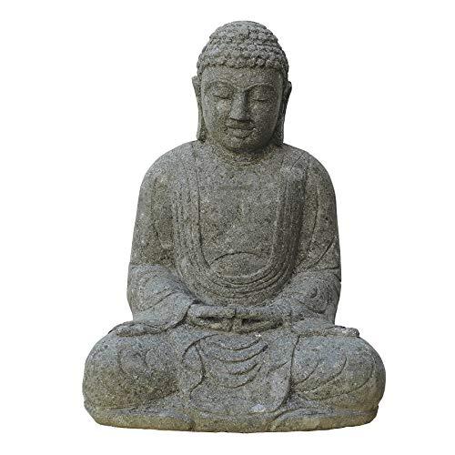 STONE art & more Figura de piedra Buda japonesa sentada, 120 cm de altura, piedra de piedra de roca de lava, resistente a las heladas