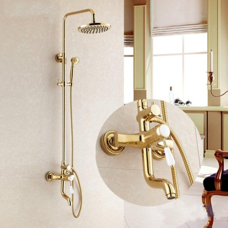 Luxurious shower Neu Luxus Keramik Dusche Badezimmer Dusche Wasserhahn Set Whirlpool Wasserhahn Golden Finish Mischbatterie massiv Messing Wand montiert, Gold