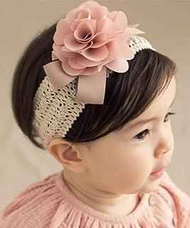 Denifery Baby Girls Cute Headband Elastic Lace Hair Band Pink Flower Headband Hair Accessories