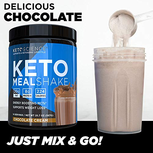 Keto Science Ketogenic Meal Shake Chocolate Dietary Supplement, Rich in MCTs and Protein, Keto and Paleo Friendly, Weight Loss, (14 servings), 20.7 oz Packaging May Vary 7