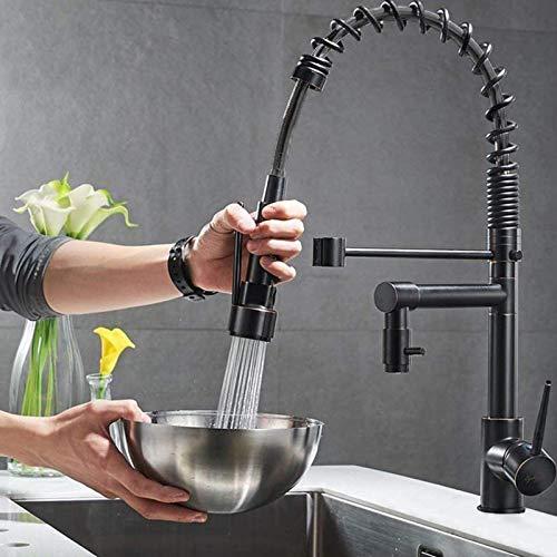 Onyzpily küchenarmatur ausziehbar Zwei Auslauf Spiralfeder Küche Armatur Spüle Mischbatterie Einhebel Spültischarmatur 360° Schwenkbereich Doppeldüse Wasserhahn Kaltes und Heißes Wasser Vorhanden